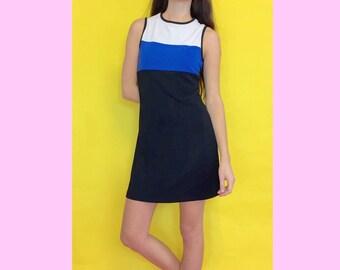 Vintage 90s Black Blue and White Color Block Striped Sleeveless High Neck Skater Mini Dress Size Medium