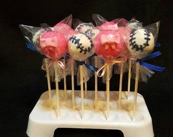 Gender Reveal, baseball's and bows! Cake pops. (Order of 13)