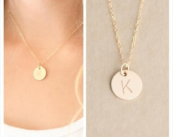 1/2 in 14kt Gold filled Initial Necklace, Personalized Initial necklace, Hand stamped, Gold Letter Necklace, Gold Necklace, Bridesmaid Gift