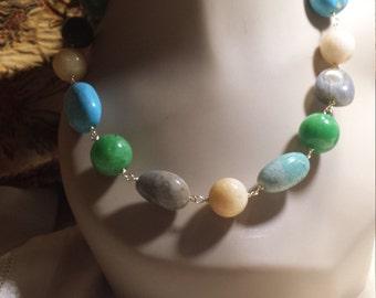 Assorted semi precious stones necklace