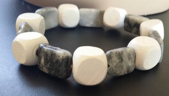 rectangle boho stone marble beaded bracelet, white wood bead gemstone hippie bracelet, handmade natural gypsy bohemian jewelry