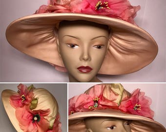 Vintage 1960s Large Formal Hat  Sun Hat Wedding Hat Church Hat Large Pink Flowers Designed by Elsie