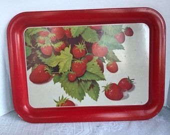 Vintage Red and White Strawberry Tin Serving Tray / Rectangular Metal Tray with Strawberries