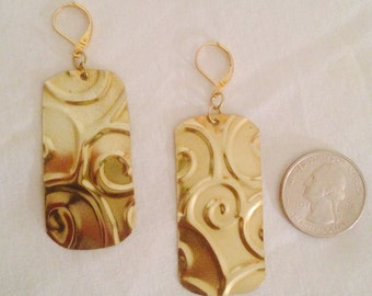 Metal Pressed Hammered Brass Earrings