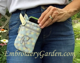 In the Hoop Cell Phone Pouch Machine Embroidery Design Files Instant Download