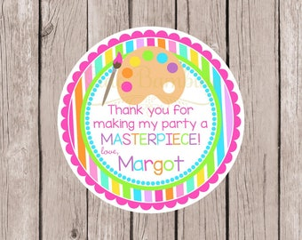 Art Party Favor Tags or Stickers / Personalized Arts and Crafts Party Stickers / Art Palette and Paint Brush / Rainbow Stripes / Set of 12