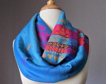 Ethnic scarf, pashmina infinity scarf, tribal scarf, chunky scarf, handmade scarf  Blue