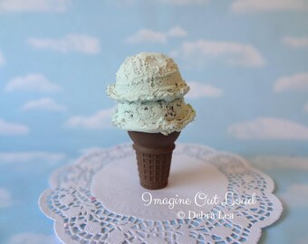 Fake Ice Cream Double Scoop Chocolate Mint Chip on Cake Cone  Food Photo Prop Gift Decor