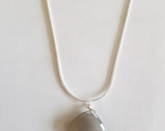 Moonstone pendant on sterling silver chain