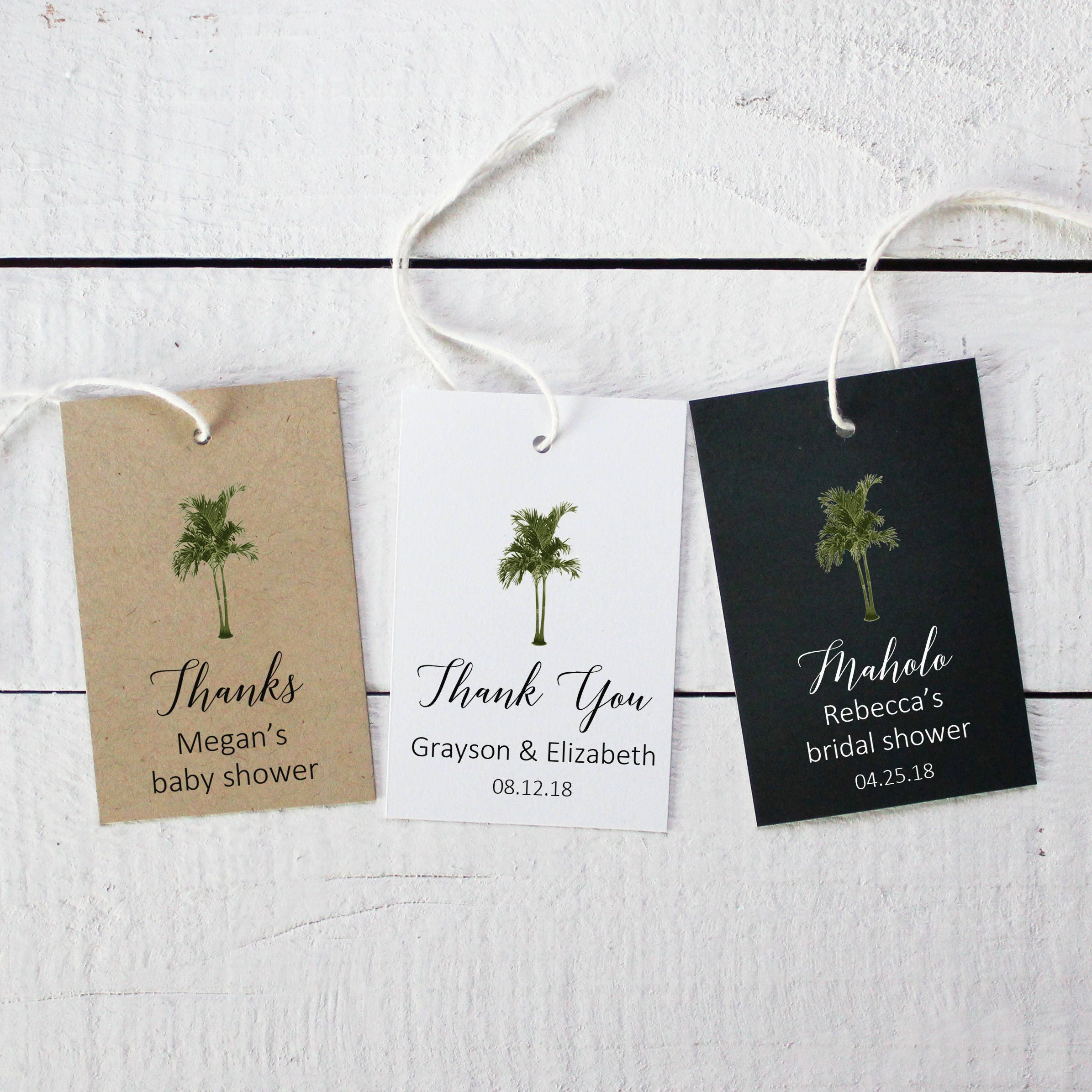 Vintage Palm Tree Favor Tags | Tropical Favor Tags | Shower Favor ...