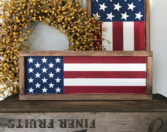 American Flag Wood Sign - Small