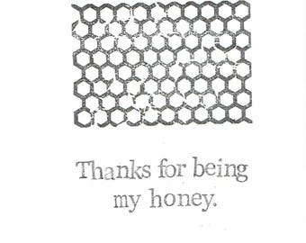 Thanks For Being My Honey Valentine Anniversary Card   Funny Valentine For Him For Her Simple Nerdy Bee Pun Men Women