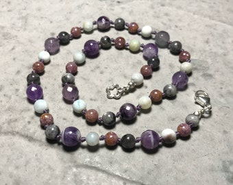 """18"""" Don't Panic; Don't Forget Your Towel //  Anxiety // Panic Attacks // Adult Gemstone Beaded Necklace // Hand Knotted"""