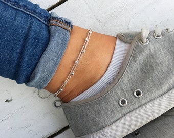 Silver beaded anklet, Silver anklet bracelet, beaded ankle bracelet, anklets for women, silver bracelet, silver jewellery. Turtle Toes Co.