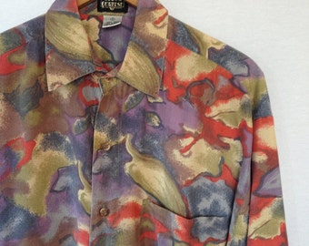 1990s silk abstract print shirt by Gianni Cortese