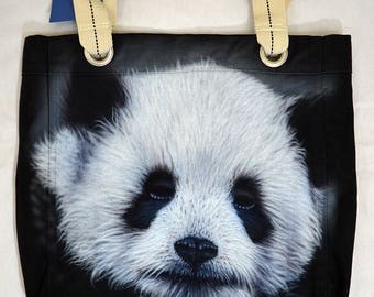 Panda Bear Tote Bag black Cotton Canvas Airbrushed realistically painted with a cute and cuddly panda bear face, striped handles, port auth