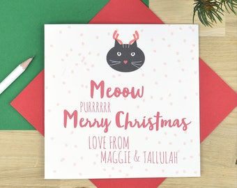 Cat Christmas card - personalised from the cat Christmas card - antlers
