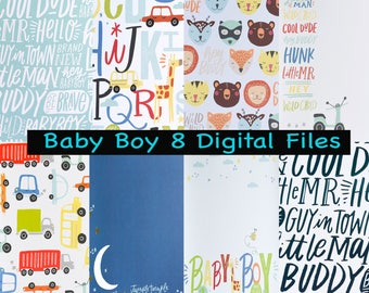 Baby Boy Digital Paper Scrapbooking cards instant download DYI New Baby Boy