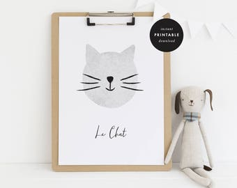 INSTANT DOWNLOAD, Le Chat - Cat Print - Black & White - 8x10/11x14 JPG Printable Wall Art, Nursery and Kids Room Decor