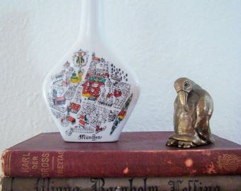 Vintage Escorial Grun Ceramic Mini Liquor Bottle Souvenir - Anton Riemerschmid - Germany, Munchen