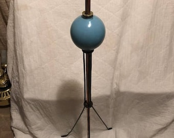 "Vintage 48"" Lightning Rod with Blue Milk Glass Ball"