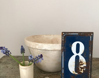 Vintage blue enamel house numbers , french house numbers,house number plate