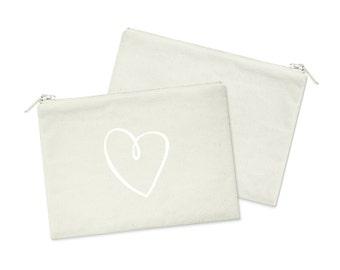 SK Sigma Kappa Heart Canvas Cosmetic Bag Sorority Zipper Pouch
