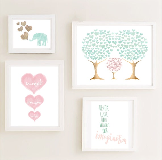 Druckversion Mint-Rosa-Galerie Kinderzimmer Wand Kunst Set