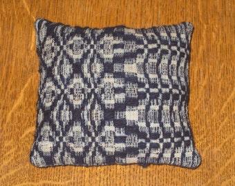 Antique Woven Coverlet Pillow Tuck Shelf Sitter Pinkeep Pincushion 1800s Fabric