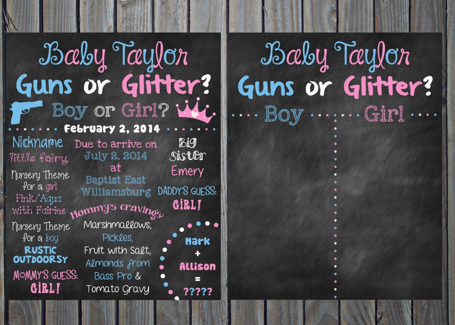 Custom Printable Gender Reveal Guns Or Glitter Baby Shower