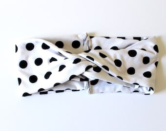 Ultra Wide Youth Turban Polka Dot Headband