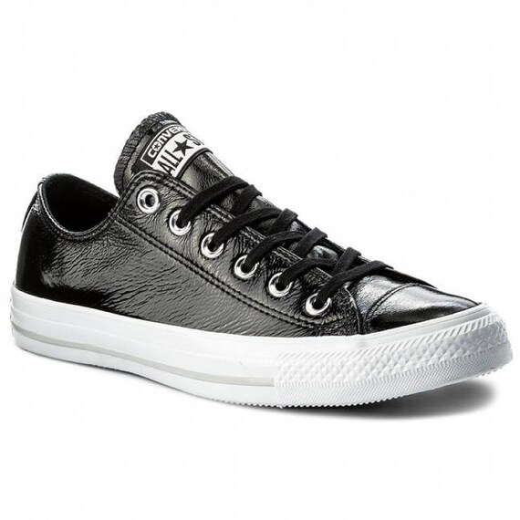 Black Patent Leather Converse Low Top Custom Sheen Jet w/ Swarovski Rhinestone Crystal Wedding Chuck Taylor All Star Sneakers Trainers Shoes