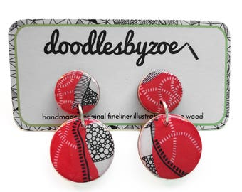 "Double circle drops – ""Red Earth"" (wearable art, statement earrings, illustration)"