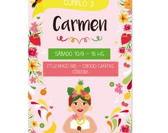 Tropical Carmen Miranda printable invitation. Invitation printable tropical birthday Carmen Miranda. Custom