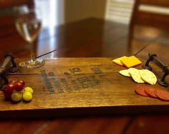 Kentucky bourbon barrel head rustic serving tray with handles