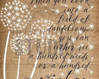 Dandelion Wishes, Burlap, Art Print, Various Sizes
