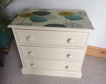 Upcycled solid pine chest of drawers, Farrow & Ball Matchstick, Sanderson Dandelions.