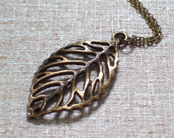 Antiqued Brass Cutout Leaf Pendant Necklace, Antiqued Brass Plated Chain