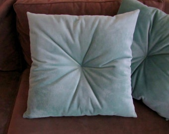 Tufted Velvet Pillow, Velvet Throw Pillow, Tufted Accent Pillow, Soft Teal Throw Pillow, Fully Stuffed 20x20 Pillow, Custom Made Pillows