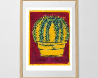 Cactus print, mother-in-law's cushion, monoprint, colourful art