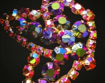 Vintage Crystal Rainbow AB brooch