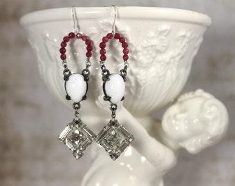 Vintage Assemblage Dangle Earrings with Garnets, Milk Glass and Clear Rhinestones - Gemstone Drop Earrings by Boutique Bijou