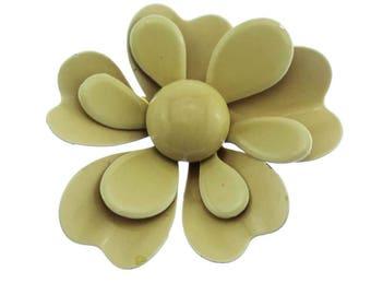Vintage Enamel Flower Brooch, Beige Enamel Flower Brooch, Beige Flower Brooch, Beige Enamel Flower Pin, Beige Flower Pin