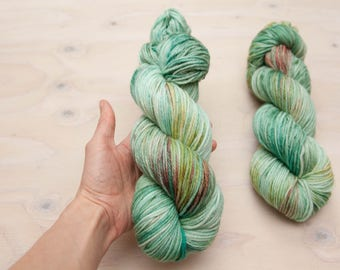 Hand dyed yarn, worsted yarn, Variegated yarn, superwash merino, wool yarn, blue yarn, green yarn, kettle dyed, dyed yarn, aqua yarn