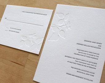 Minimalist Letterpress Wedding Invitation - Classic, Elegant, Simple - Letterpress Wedding Invite
