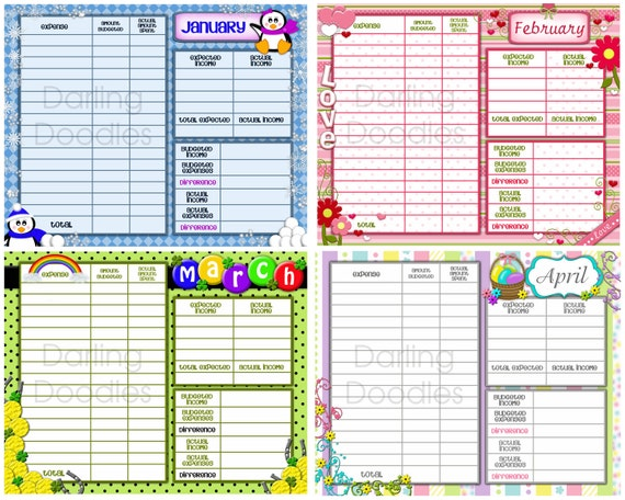 Printable Budget Worksheets Set of 12 - Yearly Budget Worksheet - Printable Monthly Budget - Financial Planning - Expense Tracker