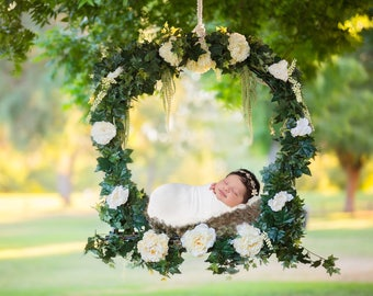 Newborn Digital Backdrop digital background for newborn composite floral swing, hanging digital swing for newborn, for commercial use
