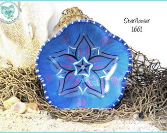 Star Mandala Flower Design, Handpainted Wooden Bowl, Unique Art Piece in *blue, pink, metallic silver, black* 1661