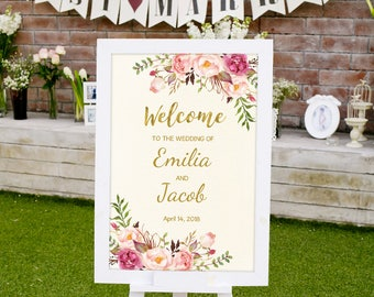 Welcome Wedding Sign, Ivory Printable Wedding Reception Sign Template, #A009, INSTANT DOWNLOAD with EDITABLE text - you personalize at home