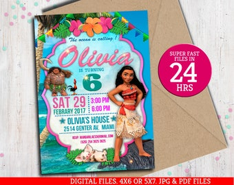 Moana Invitation, Moana Invitation, Moana summer invitation, Moana summer party, Moana Party Invite, to Any age. M029